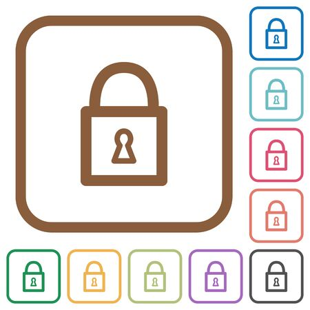 unaccessible: Locked padlock simple icons in color rounded square frames on white background