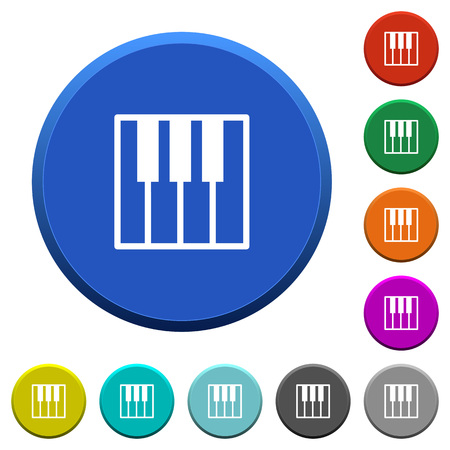 at tact: Piano keyboard round color beveled buttons with smooth surfaces and flat white icons Illustration