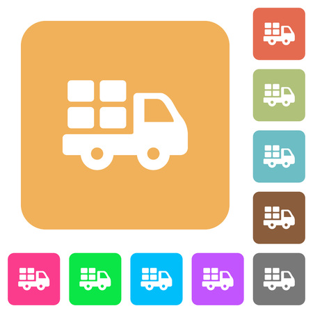 Transport flat icons on rounded square vivid color backgrounds.