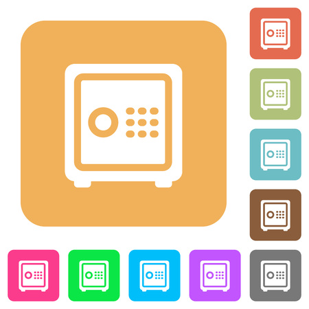 pincode: Strong box flat icons on rounded square vivid color backgrounds. Illustration