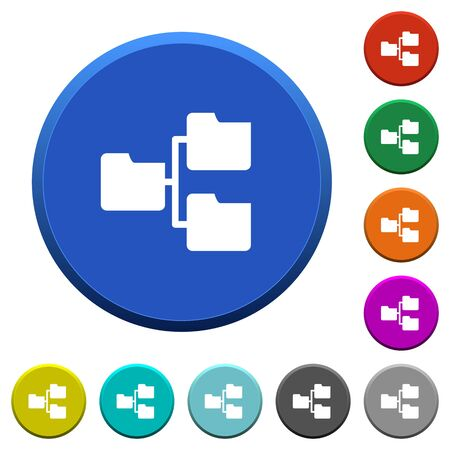 shared sharing: Shared folders round color beveled buttons with smooth surfaces and flat white icons Illustration