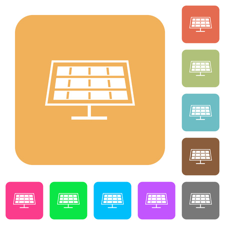 solarenergy: Solar panel flat icons on rounded square vivid color backgrounds.