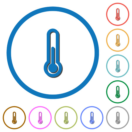 Thermometer flat color vector icons with shadows in round outlines on white background