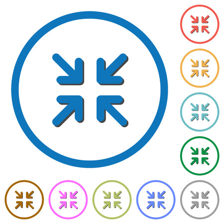 minimize: Minimize arrows flat color vector icons with shadows in round outlines on white background