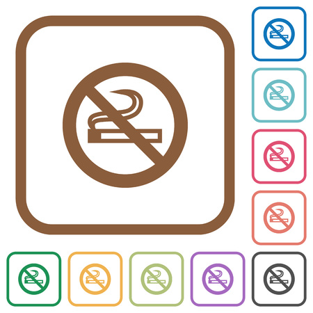 No smoking simple icons in color rounded square frames on white background