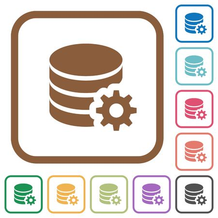 mysql: Database configuration simple icons in color rounded square frames on white background Illustration