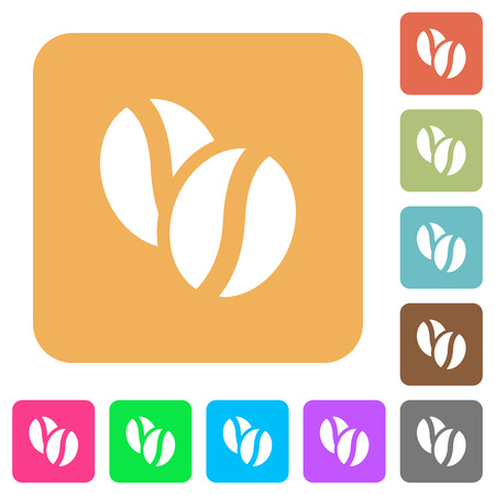 coffe beans: Coffe beans flat icons on rounded square vivid color backgrounds.