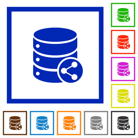 Database table relations flat color icons in square frames on white background