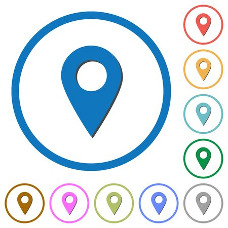 markup: Blank GPS map location pin flat color vector icons with shadows in round outlines on white background