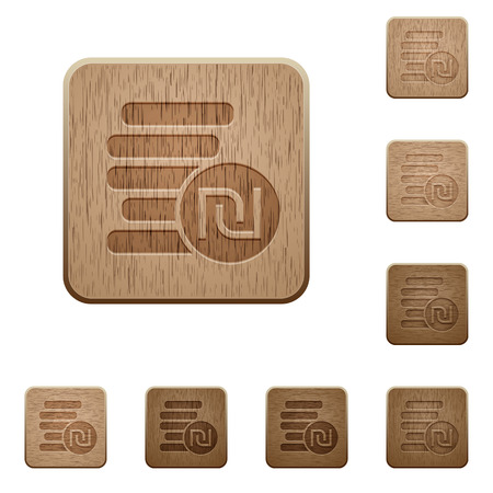 israeli: Israeli new Shekel coins on rounded square carved wooden button styles Illustration