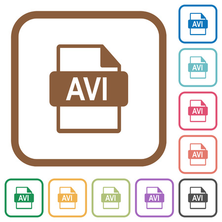 avi: AVI file format simple icons in color rounded square frames on white background