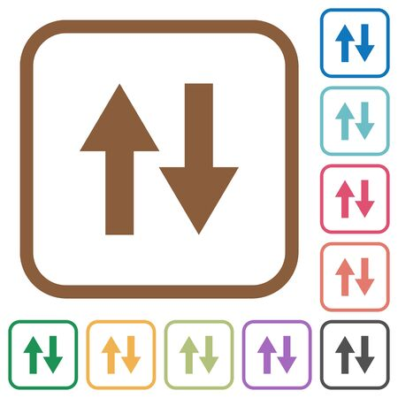 kilobyte: Data traffic simple icons in color rounded square frames on white background Illustration