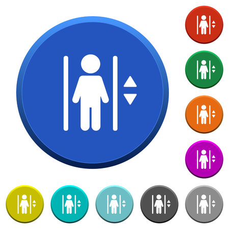 beveled: Elevator round color beveled buttons with smooth surfaces and flat white icons Illustration