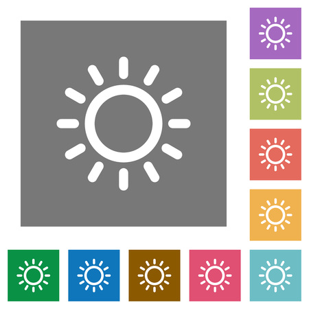 Brightness control flat icons on simple color square backgrounds Illustration