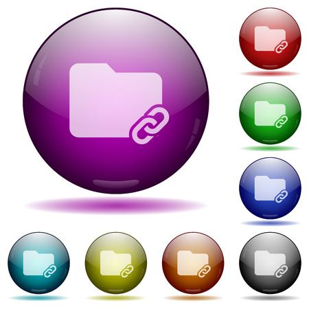 assigned: Folder link icons in color glass sphere buttons with shadows