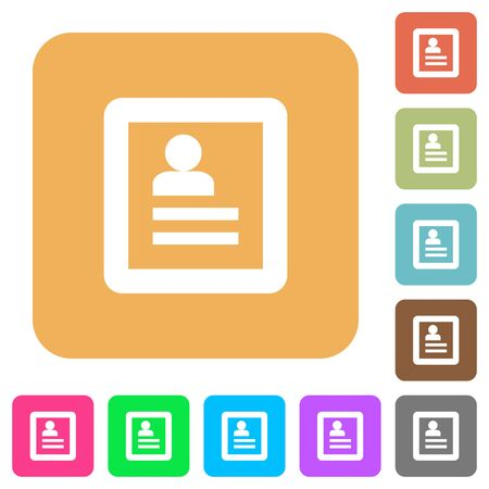 datasheet: User profile flat icons on rounded square vivid color backgrounds.