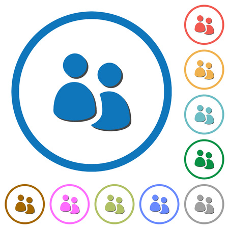 disposition: User group flat color vector icons with shadows in round outlines on white background Illustration