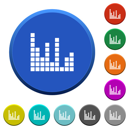 Sound bars round color beveled buttons with smooth surfaces and flat white icons Illustration