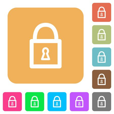 unaccessible: Locked padlock flat icons on rounded square vivid color backgrounds.