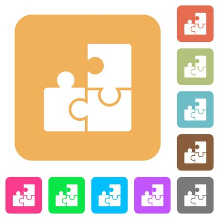 puzzle corners: Puzzles flat icons on rounded square vivid color backgrounds.