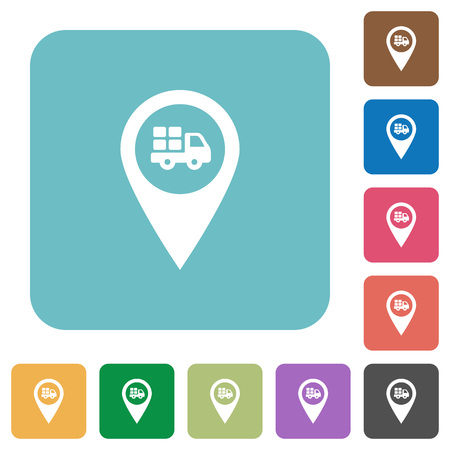 routing: Transport service GPS map location white flat icons on color rounded square backgrounds