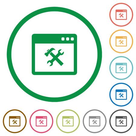 Anwendung Werkzeuge flache farbige Symbole in runden Konturen auf weißem Hintergrund Standard-Bild - 68854261