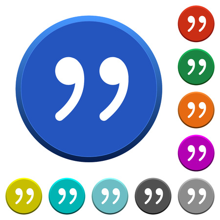 quoted: Quotation mark round color beveled buttons with smooth surfaces and flat white icons