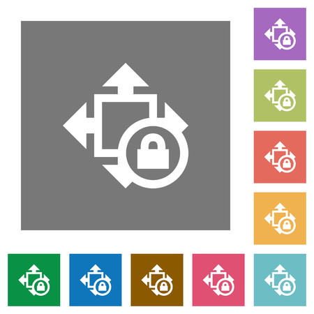 Size lock flat icons on simple color square backgrounds