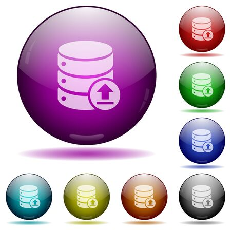 restore: Restore database icons in color glass sphere buttons with shadows