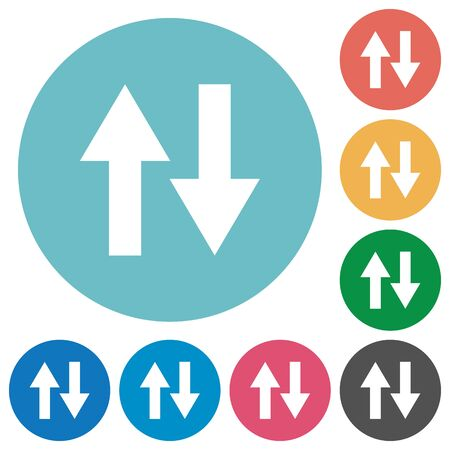 kilobyte: Data traffic flat white icons on round color backgrounds Illustration