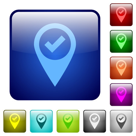 routing: GPS map location ok icons in rounded square color glossy button set