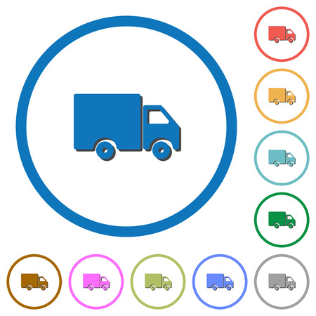 Delivery truck flat color vector icons with shadows in round outlines on white background Illustration