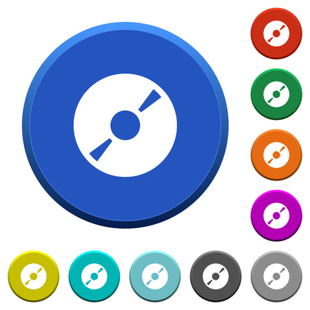 optical disk: DVD disk round color beveled buttons with smooth surfaces and flat white icons