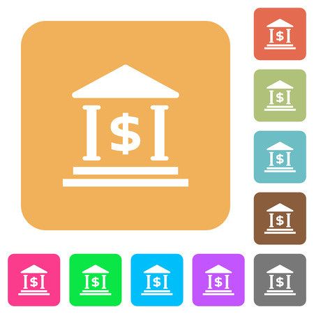 bank office: Dollar bank office flat icons on rounded square vivid color backgrounds.