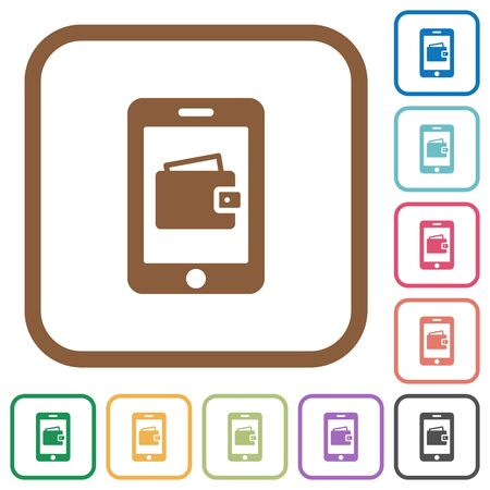 Mobile Wallet Simple Icons In Color Rounded Square Frames On ...
