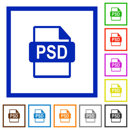 PSD file format flat color icons in square frames on white background