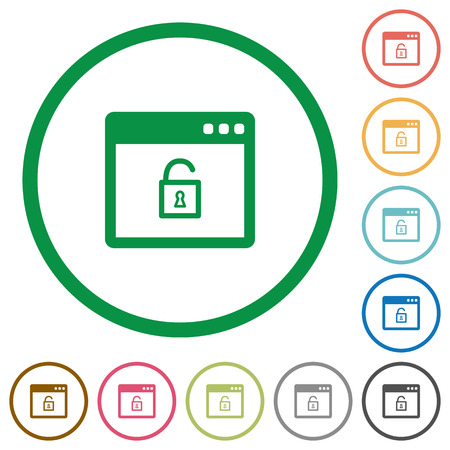 unprotected: Unlock application flat color icons in round outlines on white background