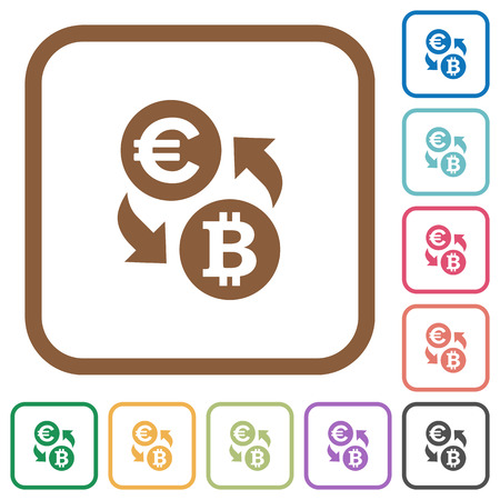 foreign exchange rates: Euro Bitcoin money exchange simple icons in color rounded square frames on white background