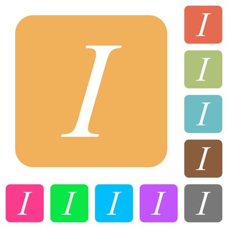 italic: Italic font type flat icons on rounded square vivid color backgrounds. Illustration