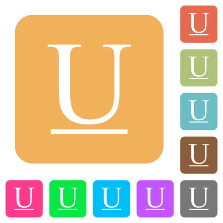 Underlined font type flat icons on rounded square vivid color backgrounds.
