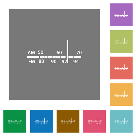 am radio: Radio tuner flat icons on simple color square backgrounds