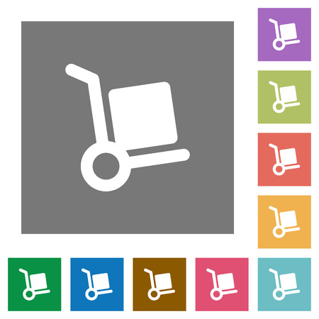 package deliverer: Hand truck flat icons on simple color square backgrounds