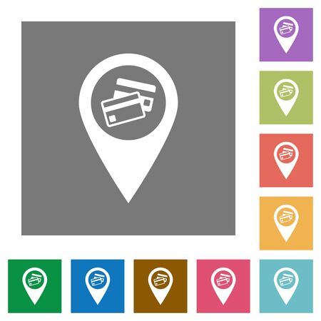 routing: Credit card acceptance GPS map location flat icons on simple color square backgrounds Illustration