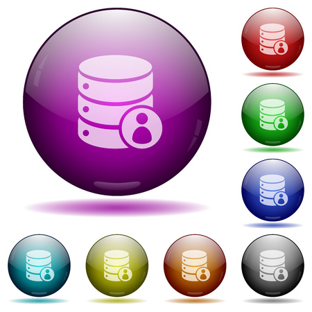 mysql: Database privileges icons in color glass sphere buttons with shadows Illustration