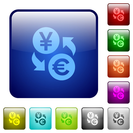 japanese yen: Yen Euro money exchange icons in rounded square color glossy button set