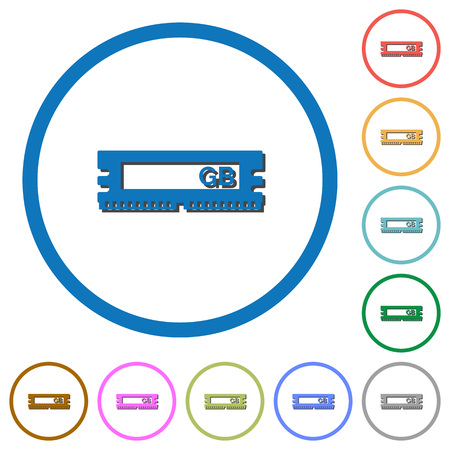ddr: RAM module flat color vector icons with shadows in round outlines on white background
