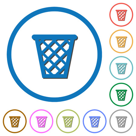 Trash flat color vector icons with shadows in round outlines on white background