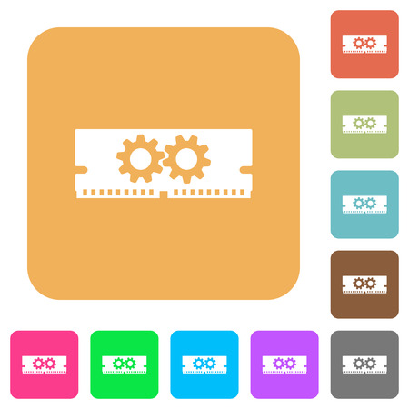 Memory optimization flat icons on rounded square vivid color backgrounds.