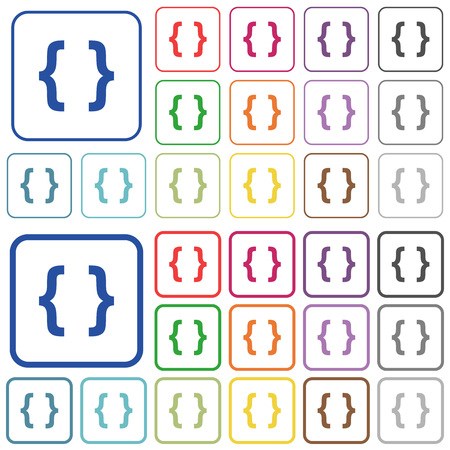 programming code: Programming code color flat icons in rounded square frames. Thin and thick versions included. Illustration