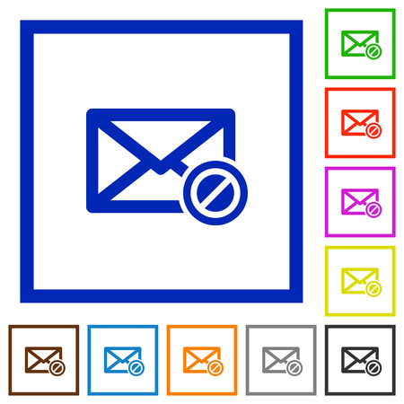 unsolicited: Blocked mail flat color icons in square frames on white background